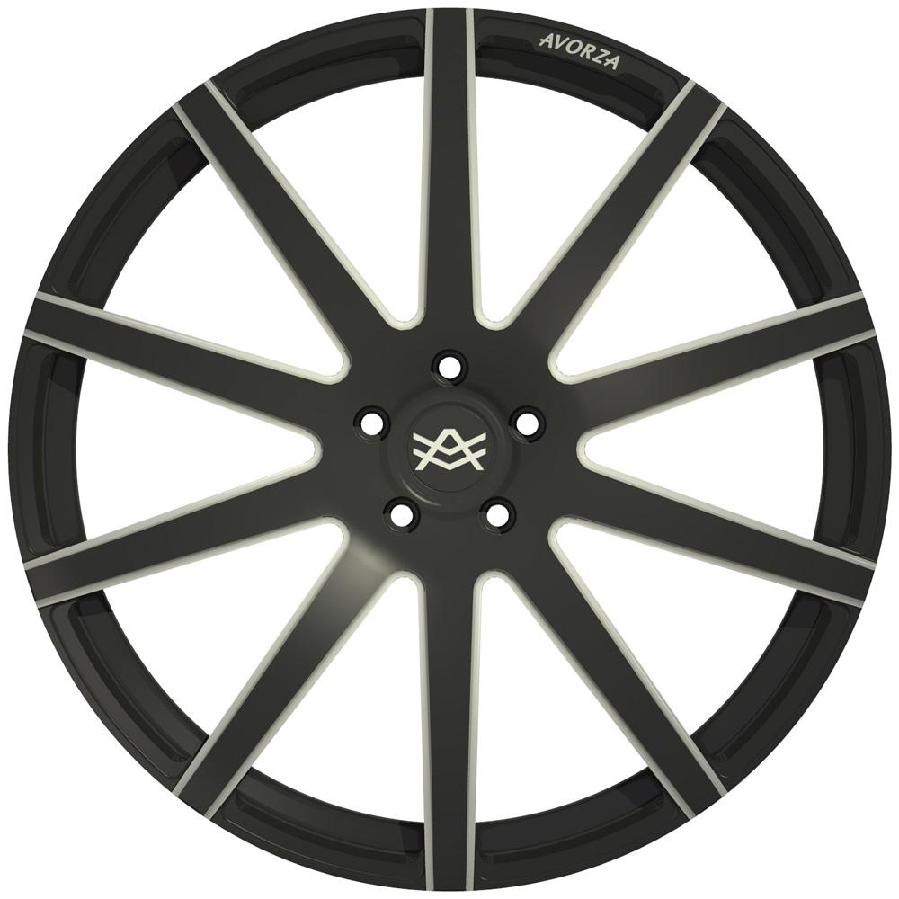 AV2 Avorza Monoblock Forged Wheel BlackWhite FaceView