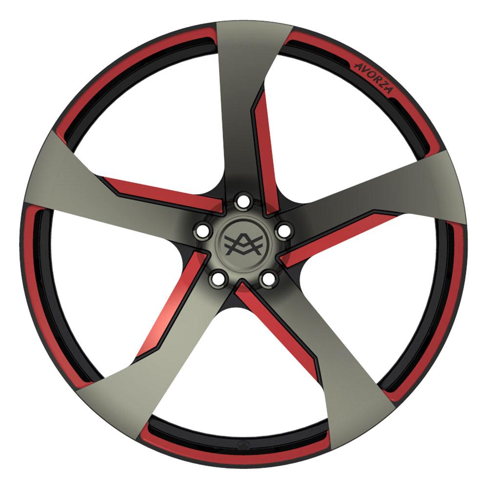 Avorza-Monoblock-Forged-Wheels-AV30-Black-Red-Grey-FaceView