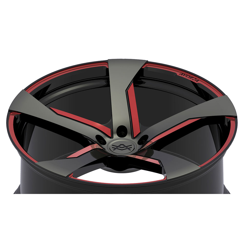 Avorza-Monoblock-Forged-Wheels-AV30-Black-Red-Grey-Layed-Back-View